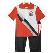 Little Boys White Red Paneled Polo Shirt Denim 2 Pc Pants Set 2T-4T