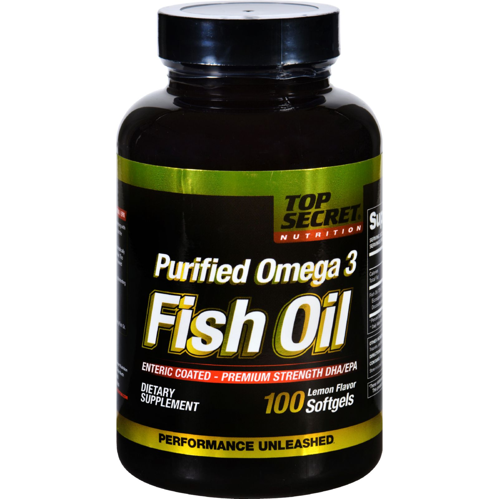 Top Secret Nutrition Fish Oil - Purified Omega-3 - Lemon - 100 Softgels