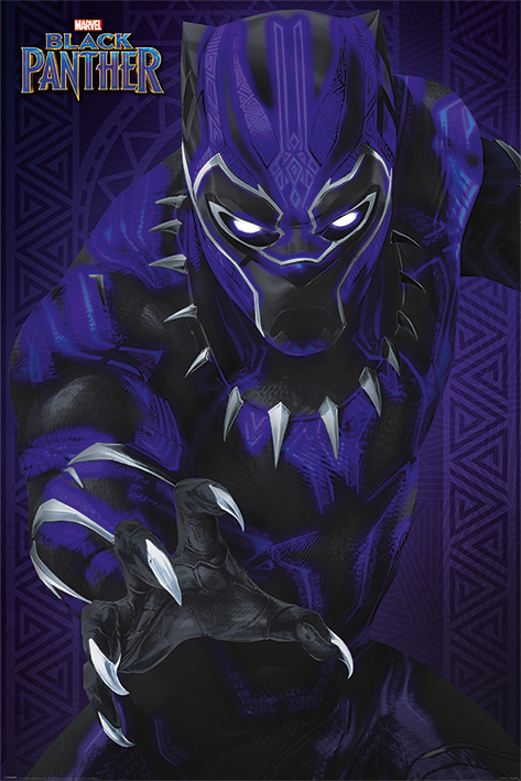 "Black Panther Marvel Movie Poster   Print (Panther   Glow) (Size: 24"" x 36"") by"