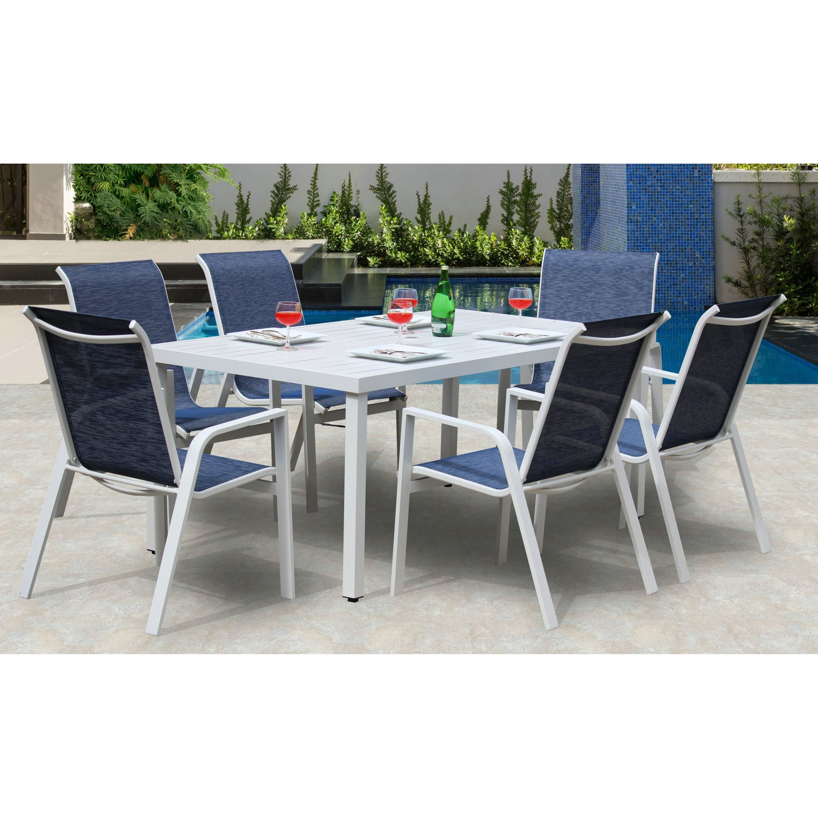 Bellini Home and Gardens Hampton Aluminum 7 Piece Patio Dining Set