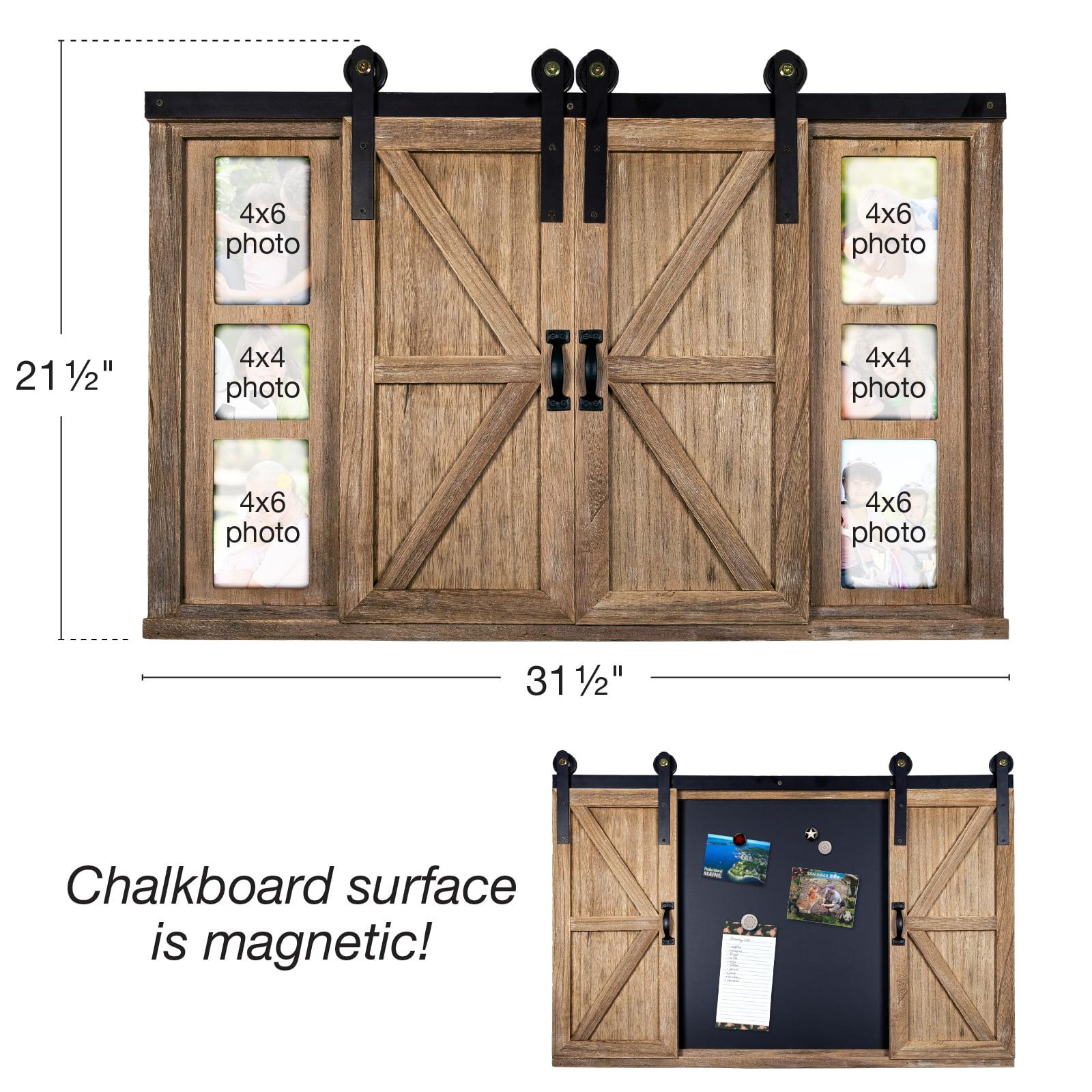 Rustic Wood Chalkboard With Four 4x6 Hideaway Photos Barndoor Dcor Egp Hd 0148 Walmart Com Walmart Com