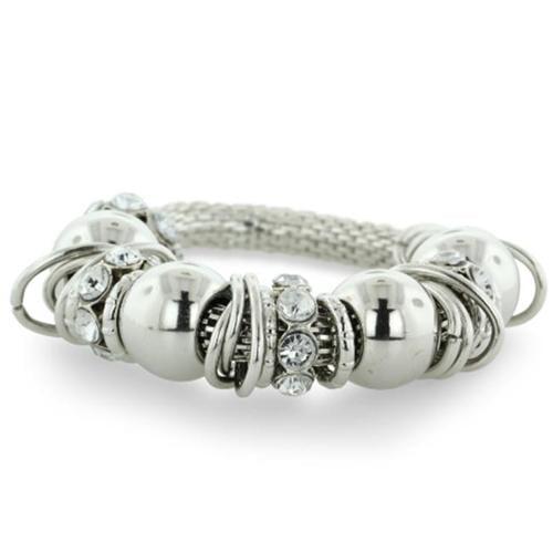 SuperJeweler Silver Tone Rhinestone Stretch Charm Bracelet