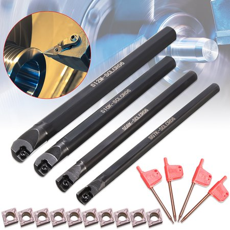 7/8/10/12mm SCLCR06 Lathe Boring Bar Turning Tool Set w/ 10pcs CCMT060204 - Lathe Boring Bar