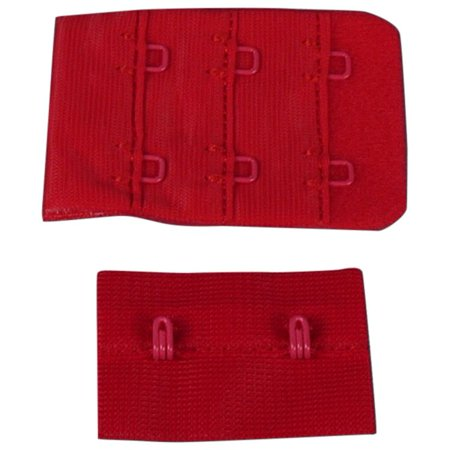 Porcelynne Red Bra Hook and Eye Replacement Closure with Red Hardware - 2 Rows - 1 1/2