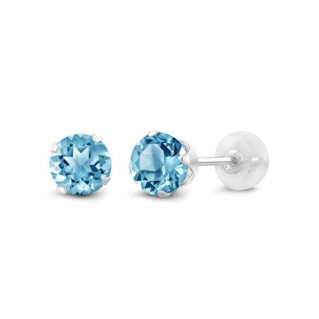 14k White Gold Blue Topaz Earrings - 1.20 Ct Round 5mm Blue Topaz 14K White Gold Stud Earrings