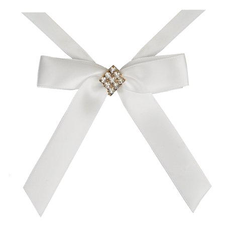BalsaCircle 4 pcs Ivory Mini Bows with Silver Rhinestone Diamond - Wedding Favors Birthday Baby Shower Party Candles Decorations Birthday Candle Favors