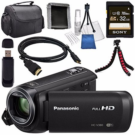 Panasonic HC-V380 HC-V380K Full HD Camcorder + Sony 32GB SDHC Card + Lens Cleaning Kit + Flexible Tripod + Carrying Case + Memory Card Wallet + Card Reader + Mini (Camera Expansion Kit)