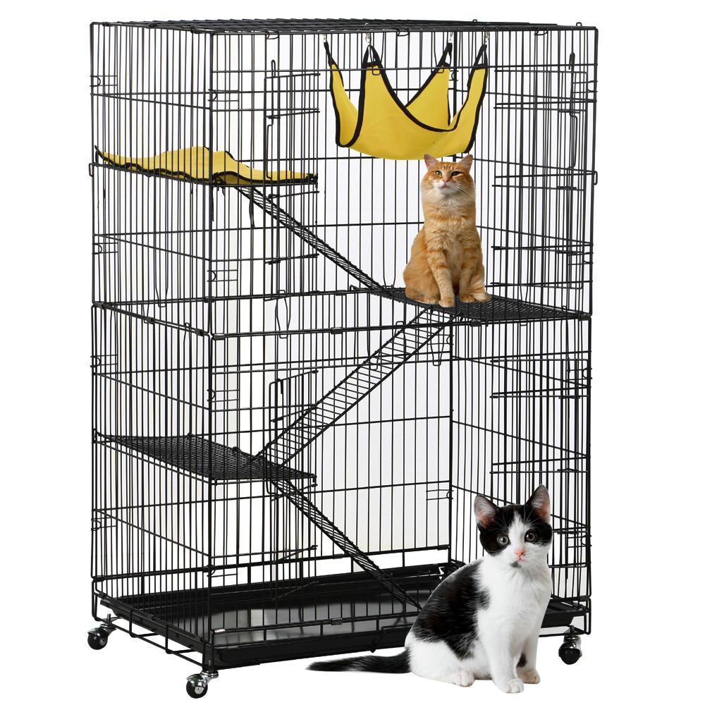 Yaheetech 4-Tier Foldable Cat Home Cages Wire Pet Crate House with Leopard Hammock
