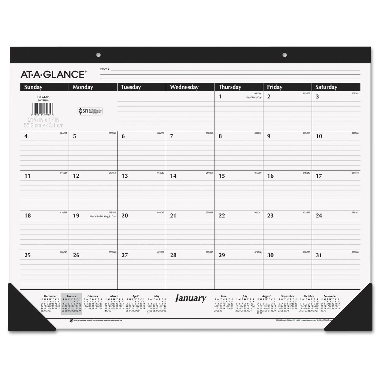 AT-A-GLANCE Ruled Desk Pad, 22 x 17, 2017