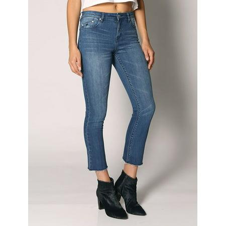 Women Five-Pocket Stretch Kitty Crop Flare Jeans 32