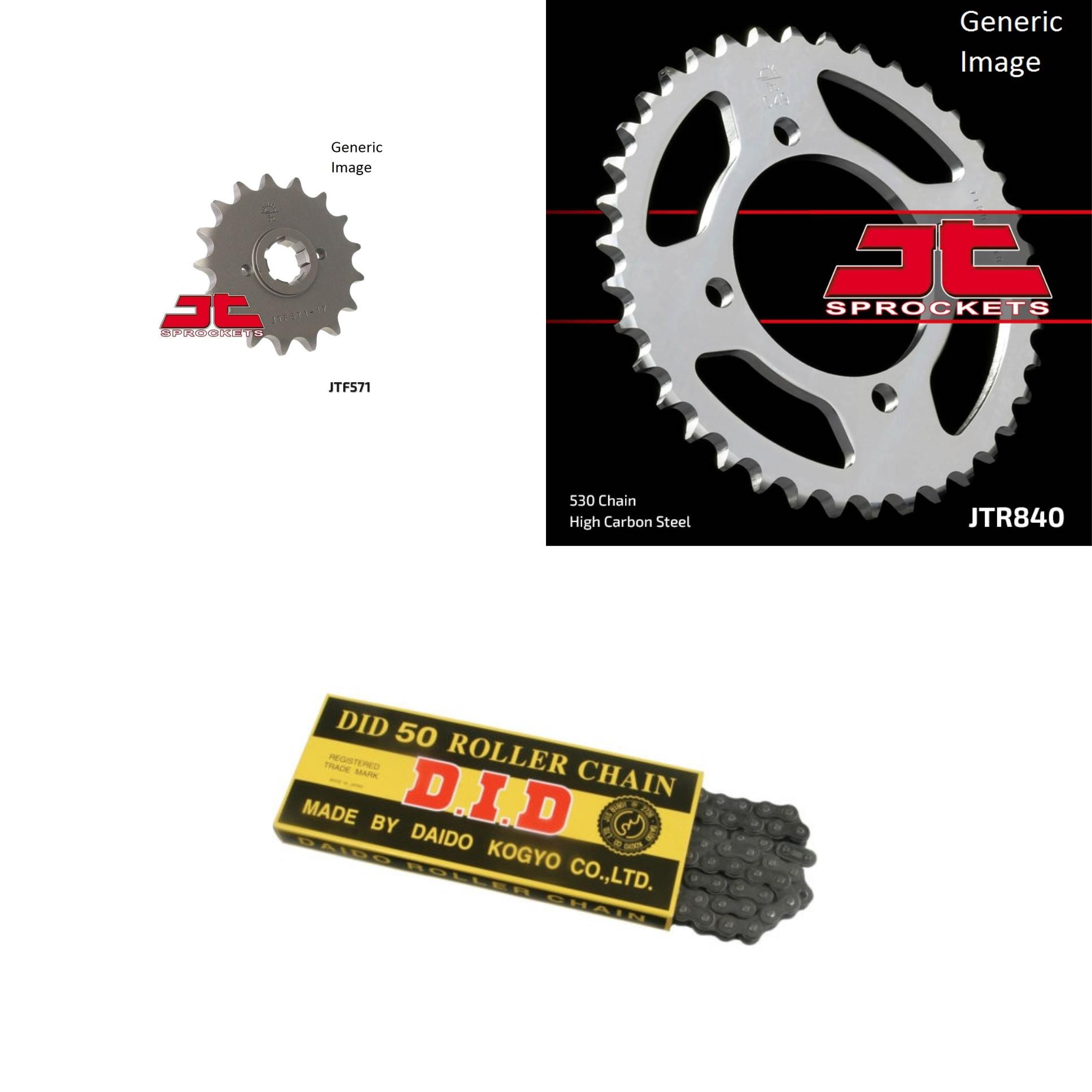 DID Standard 530 Chain Natural, JT Front & Rear Sprocket Kit for Street YAMAHA XS400R Seca 1982-1983