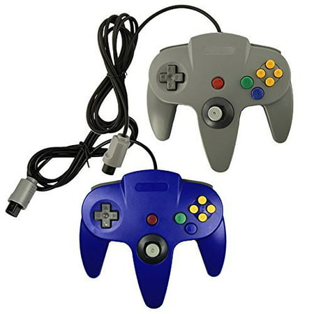 Lot Of 2 N64 Game Gaming Pad Console Controllers For Nintendo 64 N64 Blue Gray