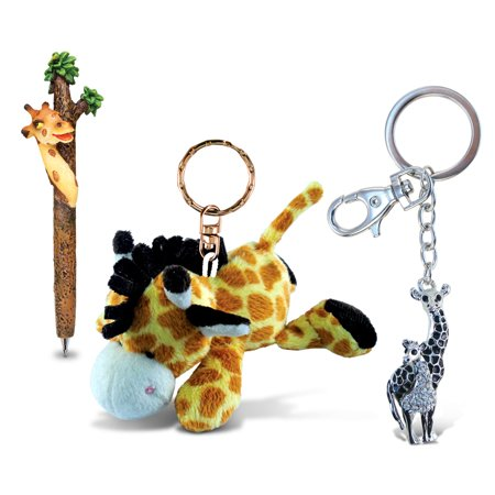 Multi Charm Keychain - Puzzled Giraffe Planet Pen, Plush Keychain and Sparkling Charm - Animals \ Zo
