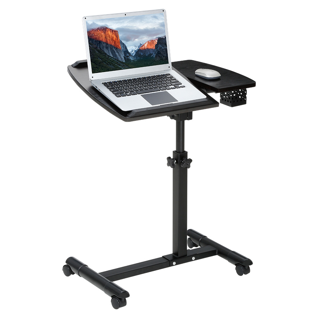 Langria Portable Laptop Desk Cart With Tilting Surfaces For Right And Left Handed Users Side