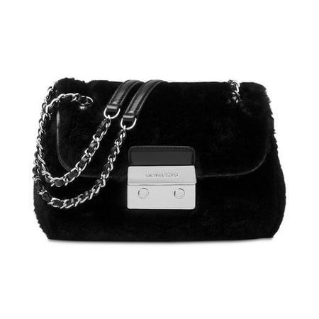 Michael Kors Sloan Black Wool Small Shoulder Bag with Chain Strap (Purse Black Michael Kors)