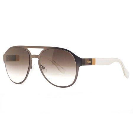 Fendi Ff 0082 S E1hjs Brown Yellow  Clear Matte Mens Aviator Sunglasses