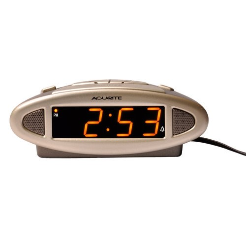 AcuRite Big and Loud Electric IntelliTime Alarm Clock, Silver