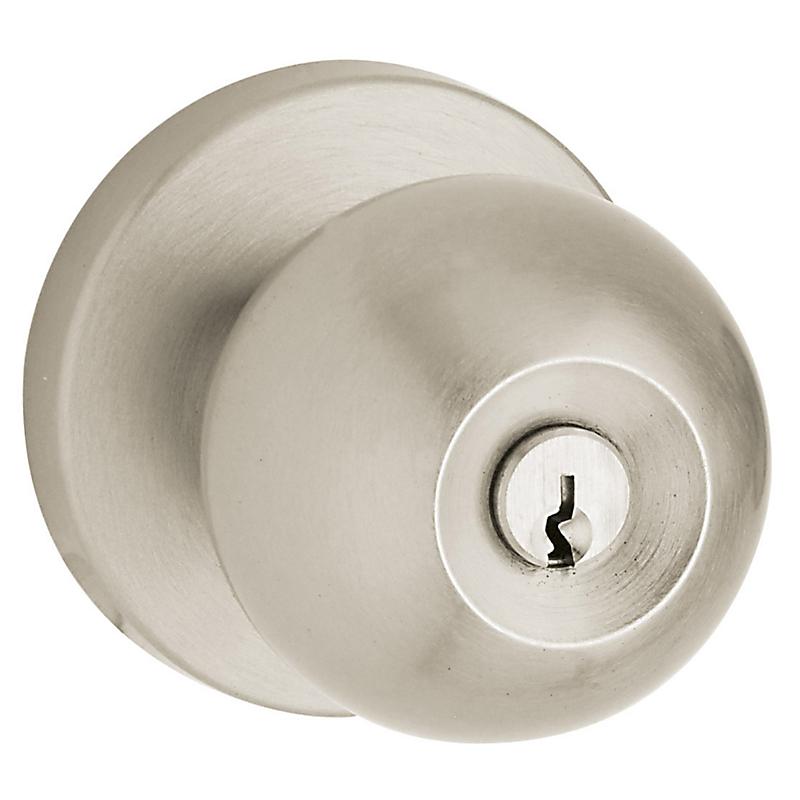 Baldwin 5215.ENTR Contemporary Style Keyed Entry Door Knob Set - Satin Nickel