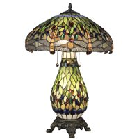Serena d'italia Tiffany 2 light Green Dragonfly 25 in. Bronze Table Lamp with Lit Base