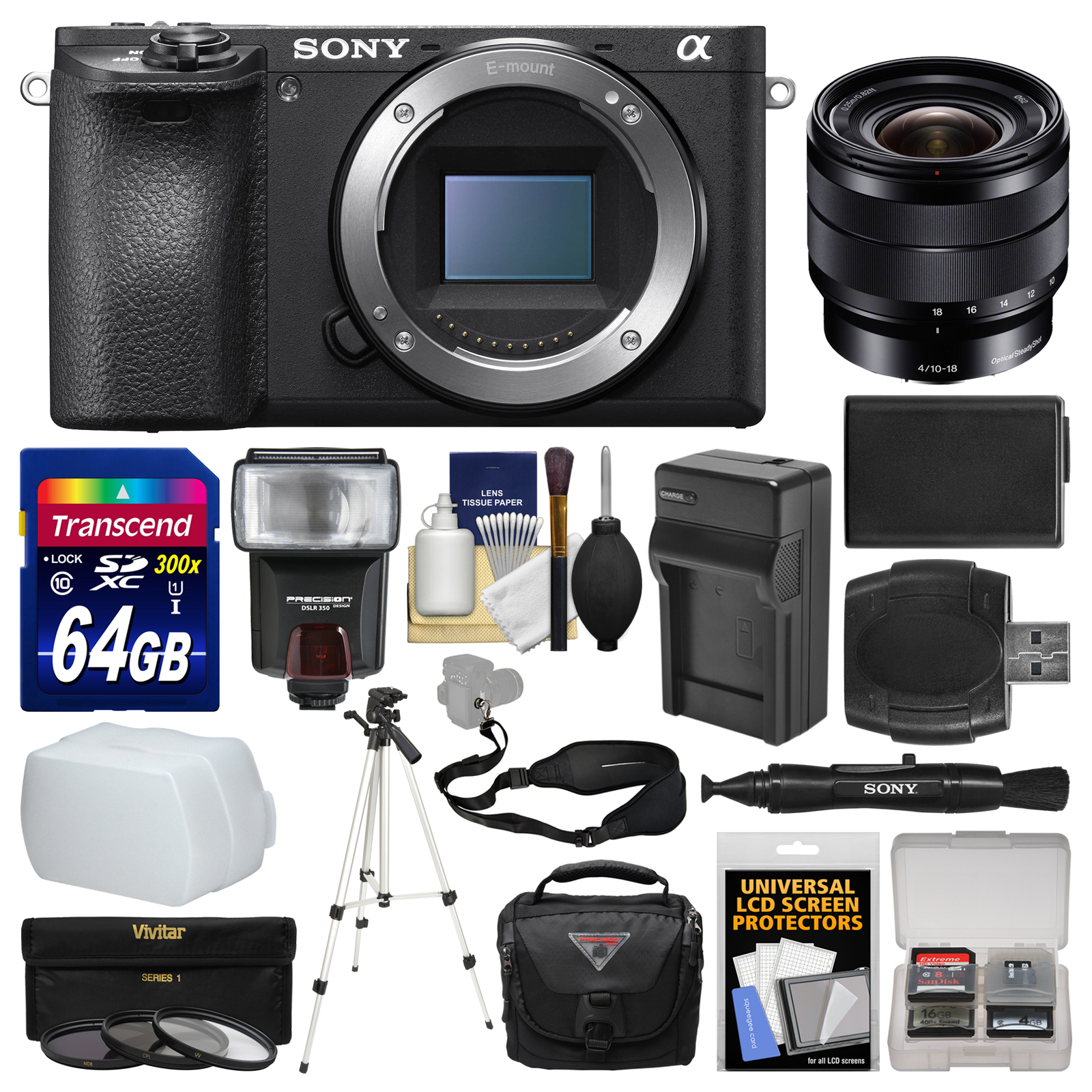 Sony Alpha A6500 4K Wi-Fi Digital Camera Body with 10-18mm f/4.0 Lens + 64GB Card + Case + Flash + Battery & Charger + Tripod + Kit