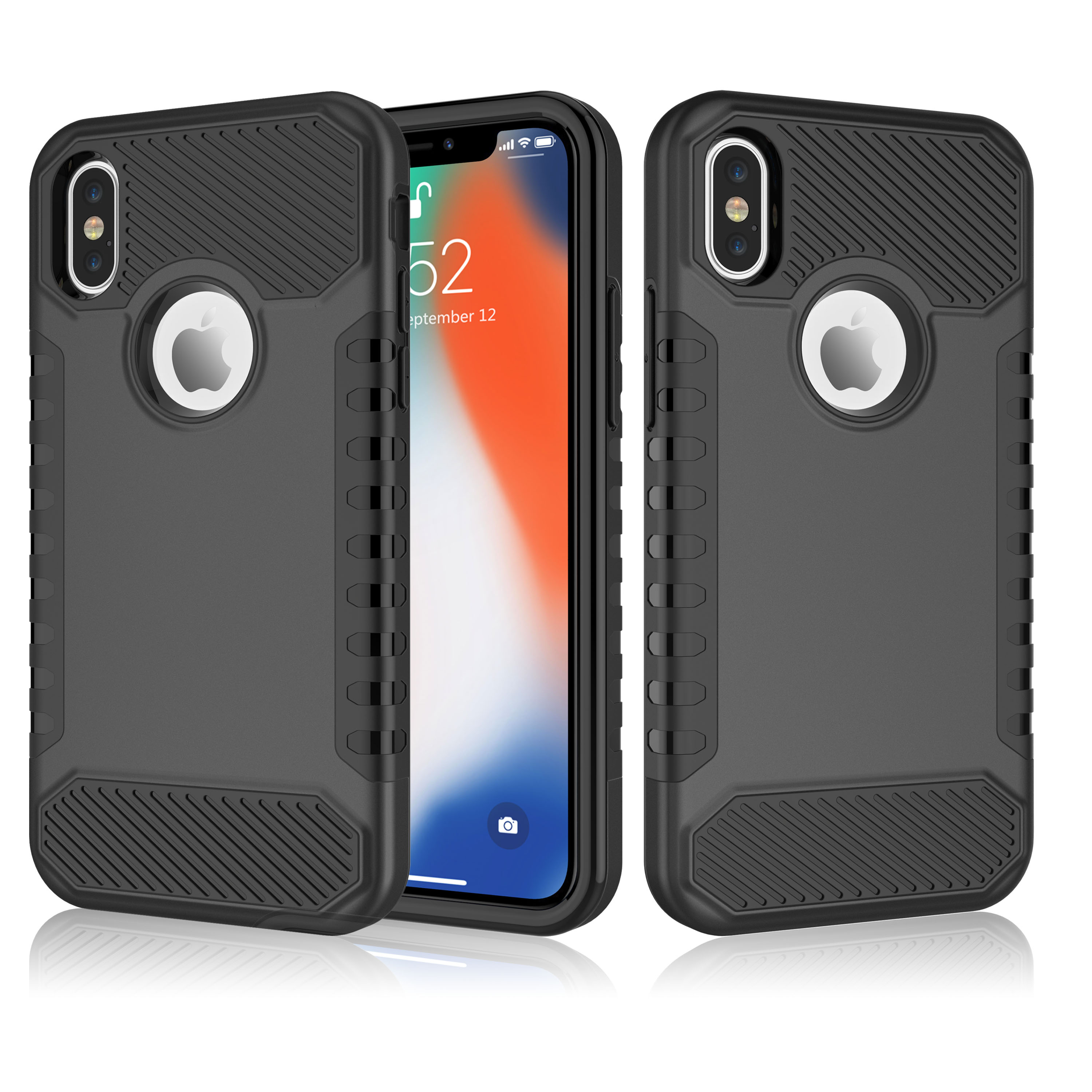 """iPhone X Phone Case, iPhone 10 Phone Case, iPhone X Edition Case Cover, Njjex Shock Absorption 2 Piece Case Cover For Apple 5.8"""" iPhone X (2017 Release) - Black"""