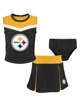 Product Image Pittsburgh Steelers Girls Toddler Two-Piece Spirit  Cheerleader Set with Bloomers - Black Gold 20c6dcb0c