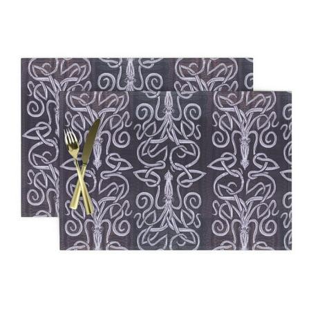 Image of Cloth Placemats Kraken Squid Violet Purple Deep Purple Lilac Orchid Set of 2