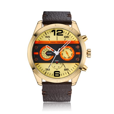 Mens Quartz Watch Yellow Face Leather Band Three Multifunction Dials Week for Friends Lovers Best Holiday Gift
