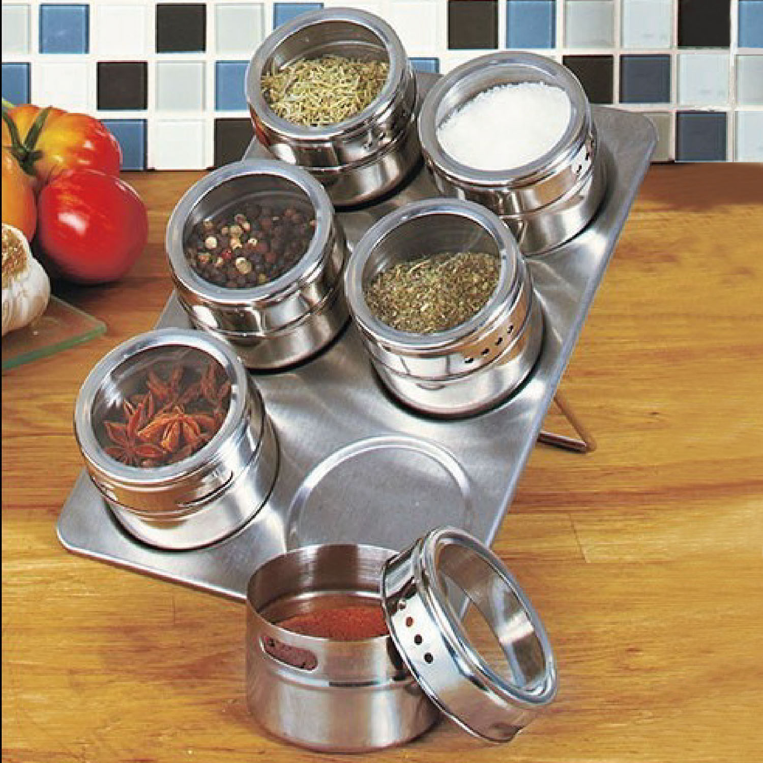 6 Piece Magnetic Spice Rack Space Saver w  See-Through Lids by GPCT