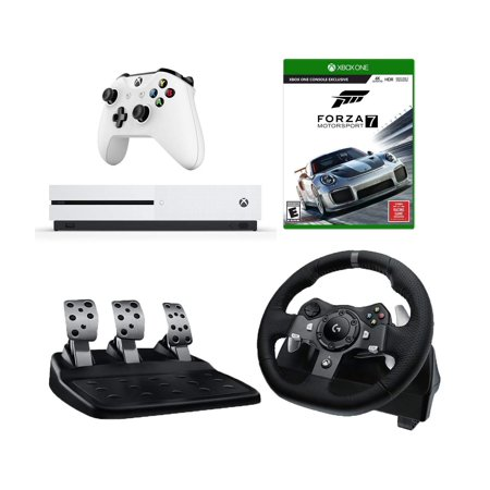 a4d35331cfc Logitech G920 Driving Force Racing Wheel (For Xbox One and PC) Starter  Bundle: Microsoft Xbox One S 500 GB Console and Forza Motorsport 7 -  Walmart.com