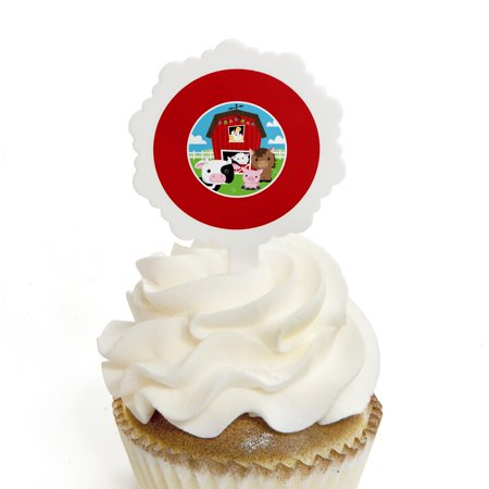 Farm Animals - Cupcake Picks with Stickers - Baby Shower or Birthday Party Cupcake Toppers - 12 Count](Farm Animal Cupcake Toppers)