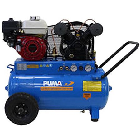 Puma Industries Air Compressor  Pun 5520G  Single Stage Gas Powered Belt Drive Series  5 5 Hp Running  135 Max Psi  Honda Engine  20 Gallons  202 Lbs