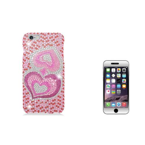 Insten Hearts Hard Diamante Case For iPhone 6s Plus / 6 Plus - Pink (with Shatter-Proof Tempered Glass LCD Protector)