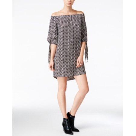 Bar III Women's Off-The-Shoulder Shift Dress Size L Black Combo - Cinco De Mayo Dresses Sale