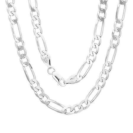 925 Sterling Silver Italian 6mm Figaro Link Solid Necklace Chain 16