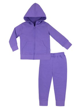 Little Star Organic Baby Girls & Toddler Girls Brights French Terry Hoodie & Jogger Pants, 2-Piece Set (9M-5T)