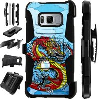 For Samsung Galaxy S8 Plus Case Heavy Duty Hybrid Armor Dual Layer Cover Kick Stand Rugged LuxGuard Holster (Red Dragon)