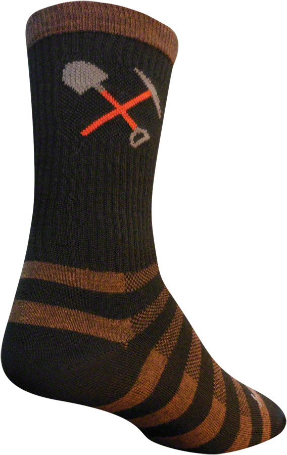 SockGuy Trail Work Wool Sock: Brown/Black LG/XL