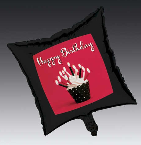 Cupcake Blowout 18 inch Square Happy Birthday Foil Balloon
