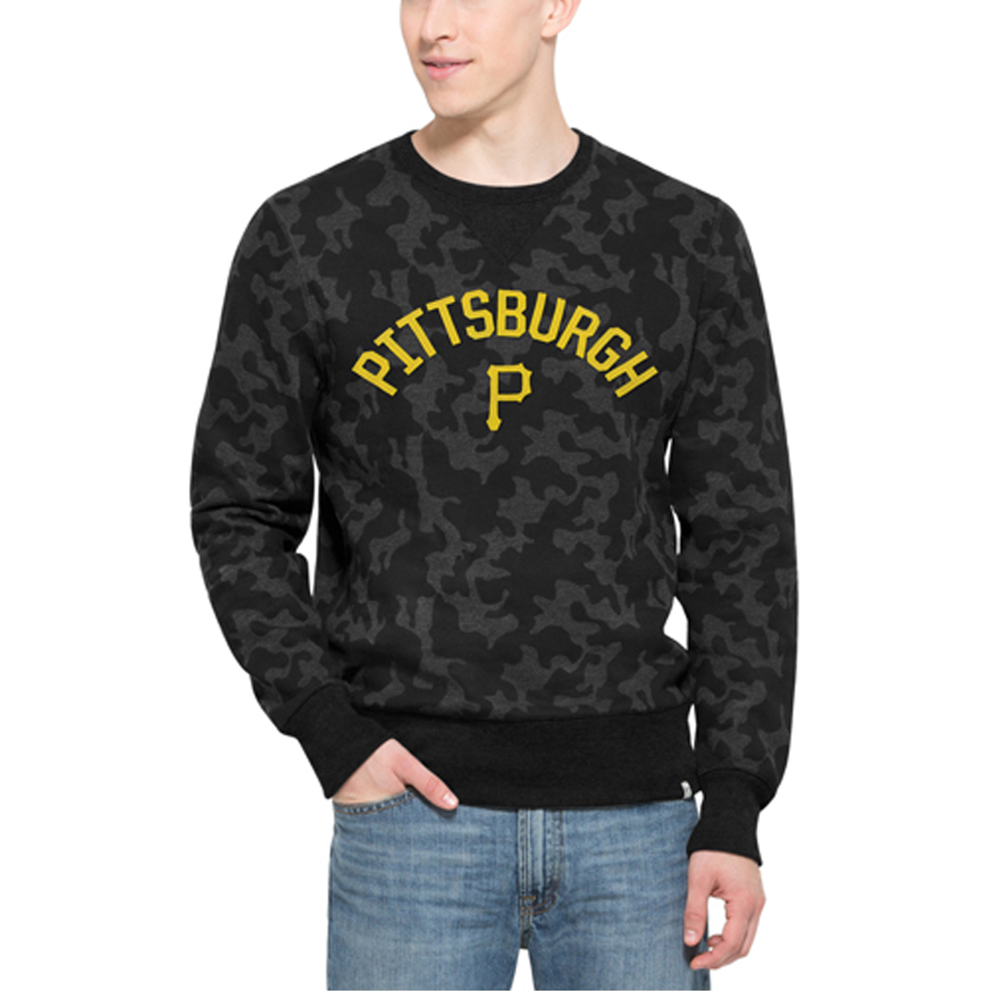 Pittsburgh Pirates '47 Brand Stealth Camo Crew Sweatshirt - Black