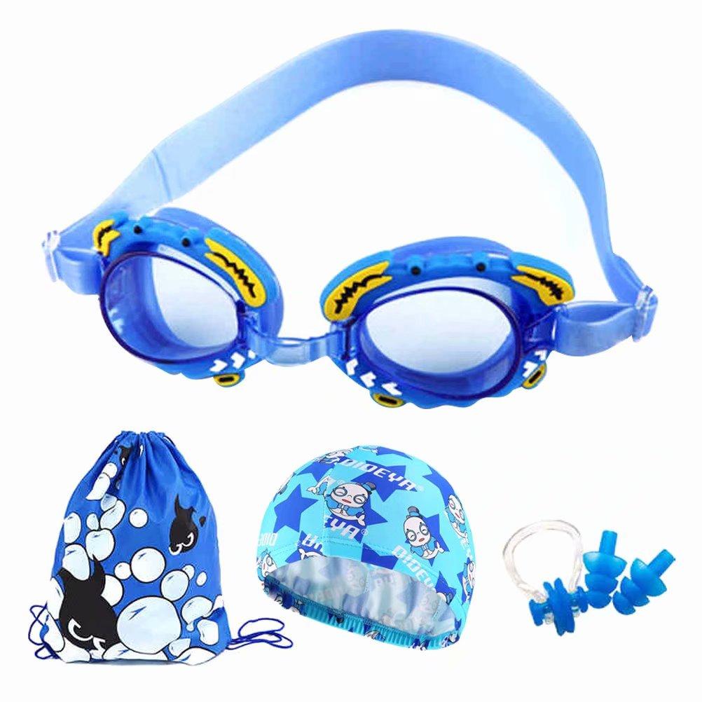 Kids Swimming Goggle,Outdoor Children's Waterproof Anti-Fog HD Swimming Goggles Swimming Cap Set-Dark Blue by