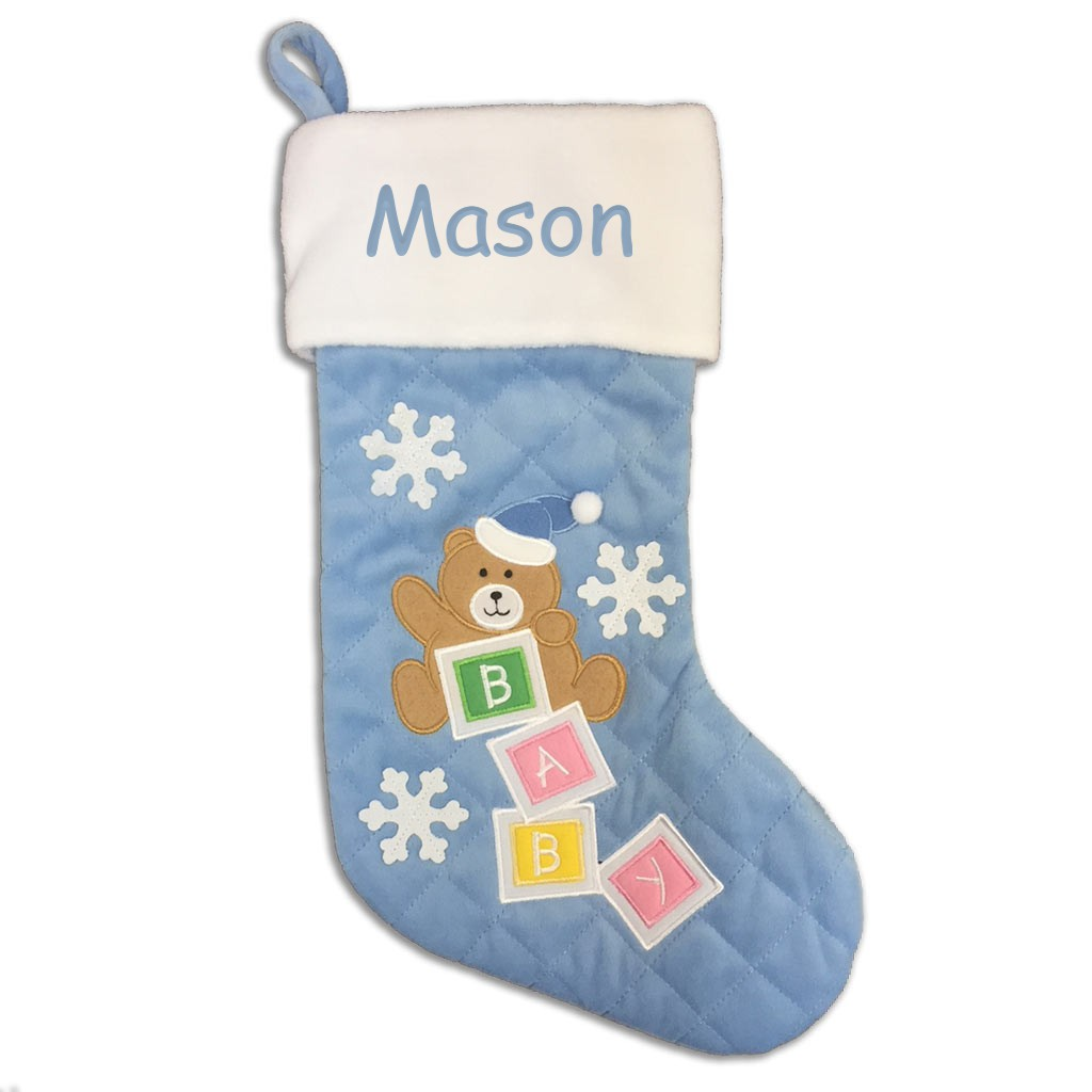 Personalized Baby Bear Christmas Stocking - Blue