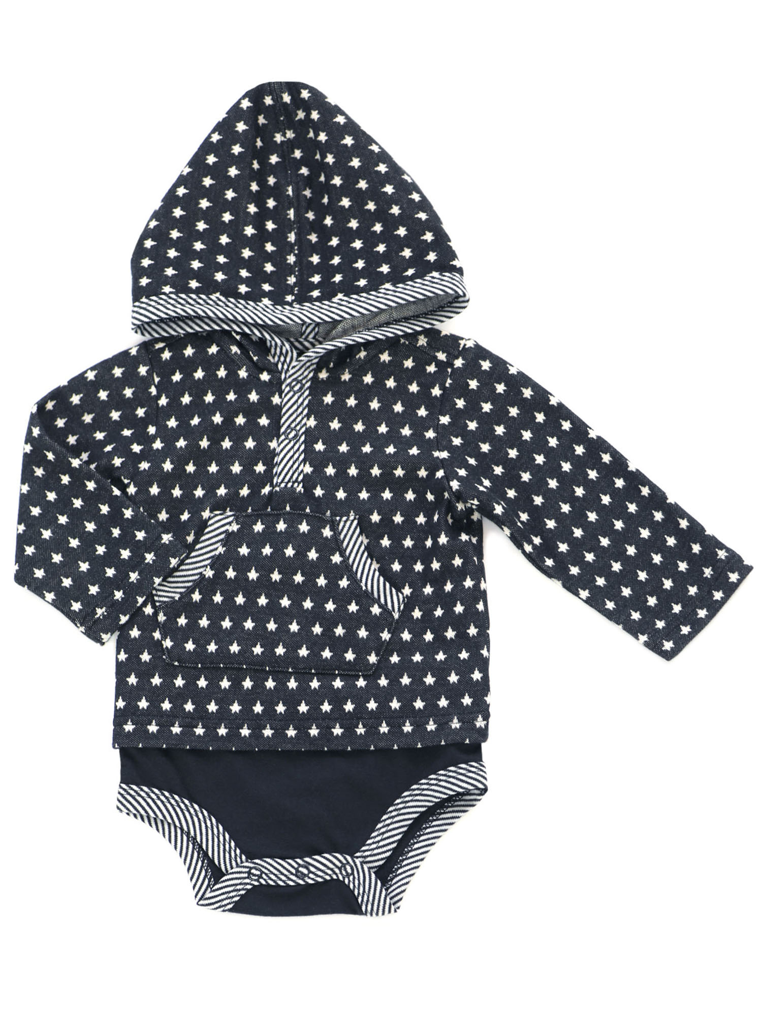 Kapital K Long Sleeve Hooded Double Layer Bodysuit (Baby Boys)