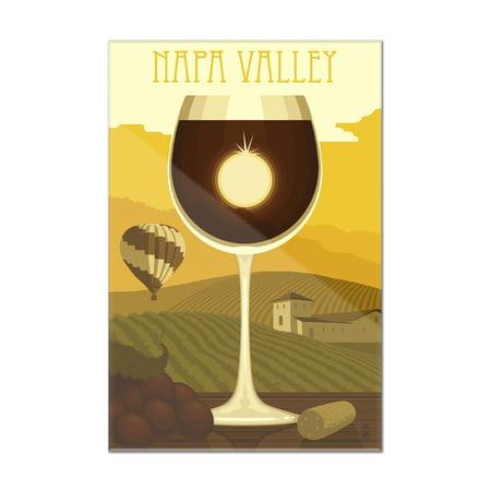 Napa Valley, California - Wine Glass & Vineyard - Lantern Press Artwork (8x12 Acrylic Wall Art Gallery Quality)