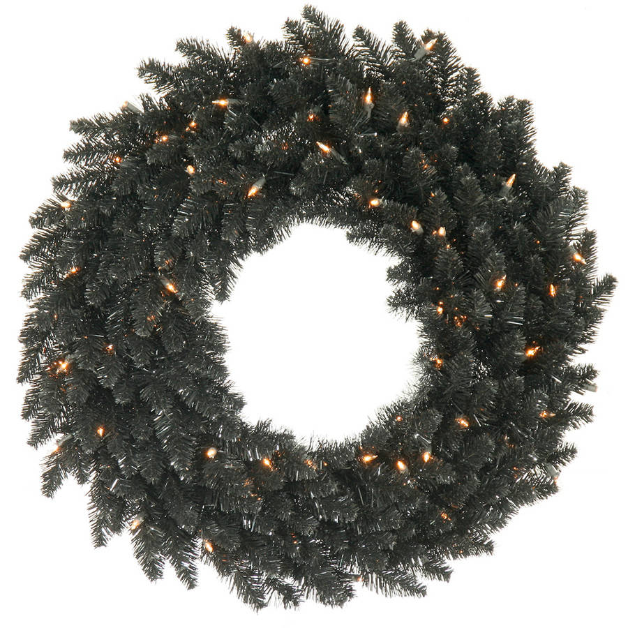 "Vickerman 24"" Black Fir Wreath 210T"