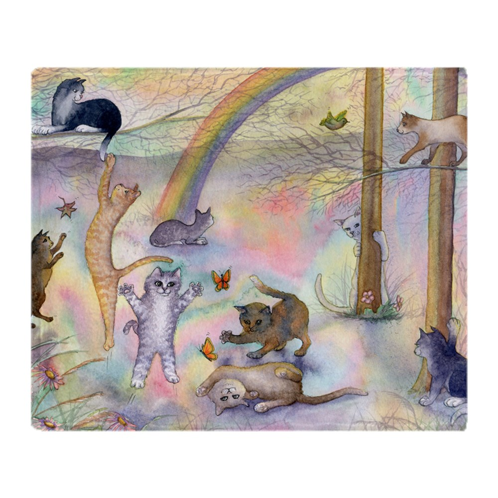 "CafePress Cats Waiting At Rainbow Bridge Soft Fleece Throw Blanket, 50""x60""... by"