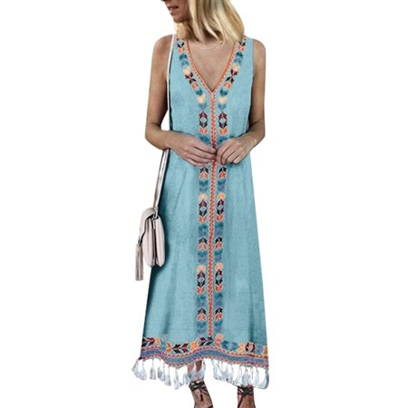 Casual Dress for Womens Plus Size S-XXXXXL Summer Beach Boho Dress Party Cocktail Long Maxi Dresses V Neck Oversized Caftan