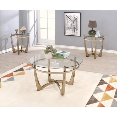 Acme Furniture Orlando II Champagne and Clear Glass Coffee Table ()