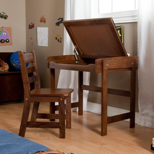 "Lipper Child's Chalkboard Desk & Chair, 2-piece Set, Walnut Finish - 24.8"", 11.8"" Width X 18"", 13"" Depth X 22"", 23.5"" Height - Beechwood, Pine Wood, Medium Density Fiber [mdf] - Walnut (554wn)"