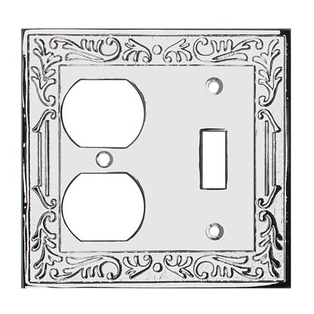 Victorian Supply Outlet - Victorian Switch Plate Double Outlet Chrome Solid Brass